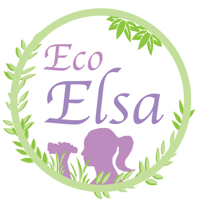 EcoElsa Logo shows a girl with her hair in a pony tail holding up a pair of binoculars to look through with the words Eco Elsa floating above her in a circle made of vines and vegetation.